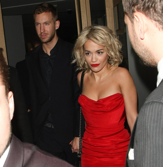 Rita Ora and Calvin Harris leave Nobu, celebrity couple