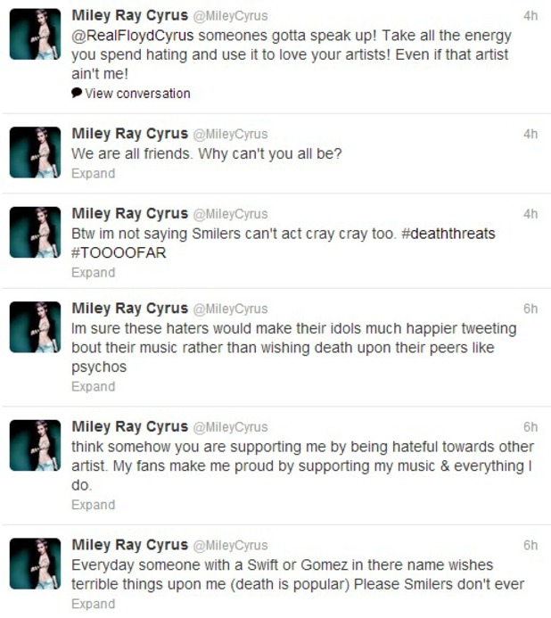 Miley Cyrus tweeting about death threats