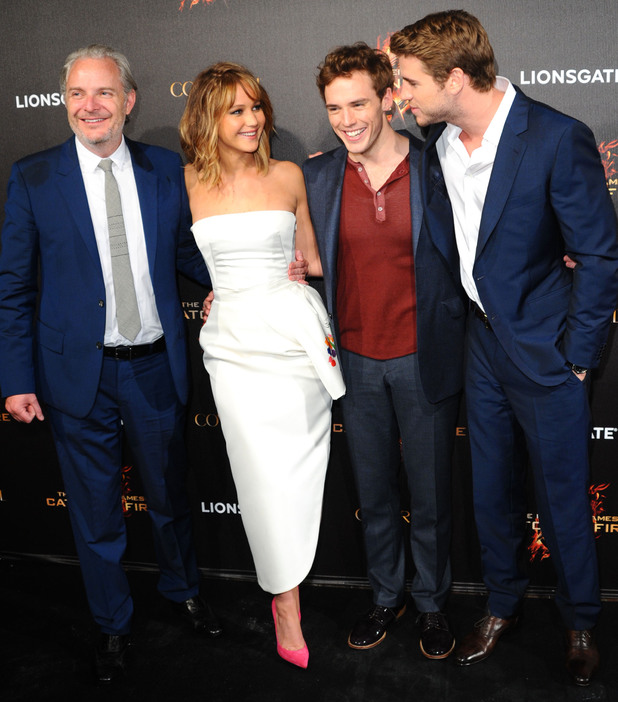 Francis Lawrence, Jennifer Lawrence, Sam Claflin and Liam Hemsworth