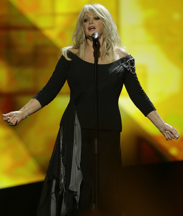Bonnie Tyler of the UK performs her song Believe in Me.