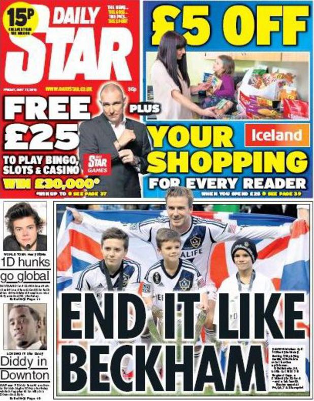 David Beckham newspaper front pages