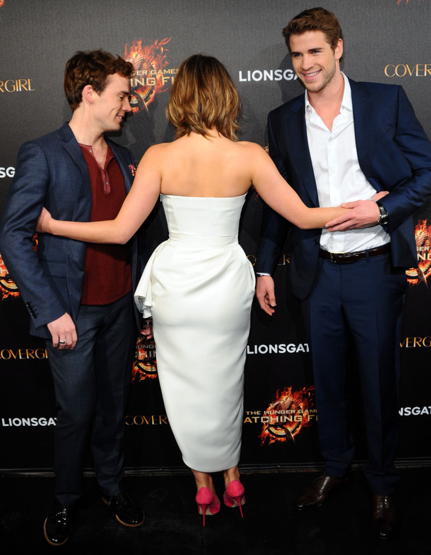 Sam Claflin, Jennifer Lawrence and Liam Hemsworth