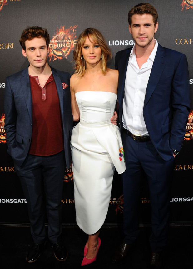 Sam Claflin, Jennifer Lawrence and Liam Hemsworth.