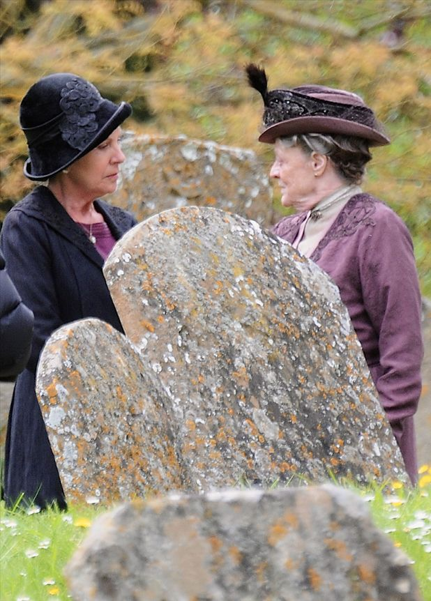 Downton Abbey on set filming in Bampton