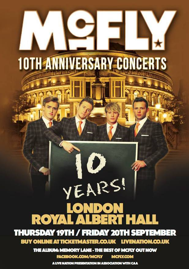 McFly 10th anniversary London shows poster