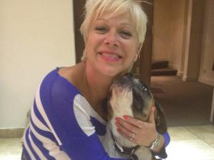 Denise Welch with her dog Pip