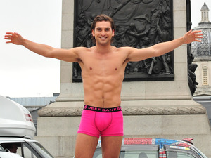 Launch of Debenhams 'Think Pink' breast cancer initiative, Trafalgar Square, London, Jay Conroy, Jeff Banks