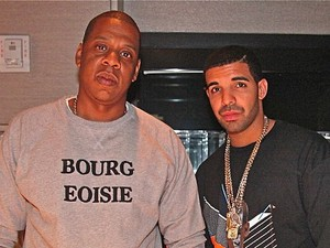Jay-Z and Drake in the recording studio.