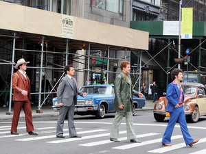 David Koechner, Steve Carell, Will Ferrell and Paul Rudd on the set of 'Anchorman: The Legend Continues' in New York