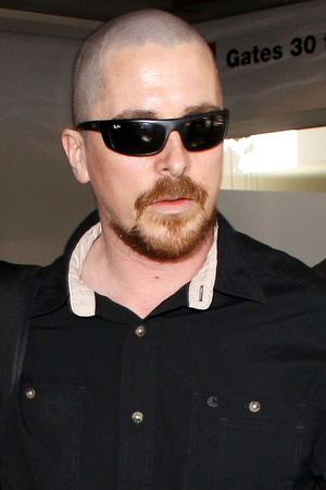 Christian Bale, shaved head, new look, ginger beard