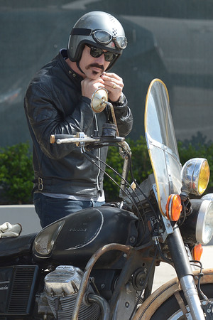 Ewan McGregor, unrecognisable, new look, dark hair, LA, motorbike, handlebar moustache