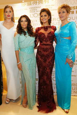 Megan Gale, Doutzen Kroes, Eva Longoria, Cheryl Cole and Jane Fonda, L'Oreal reception, 66th Cannes Film Festival on May 18, 2013 in Cannes
