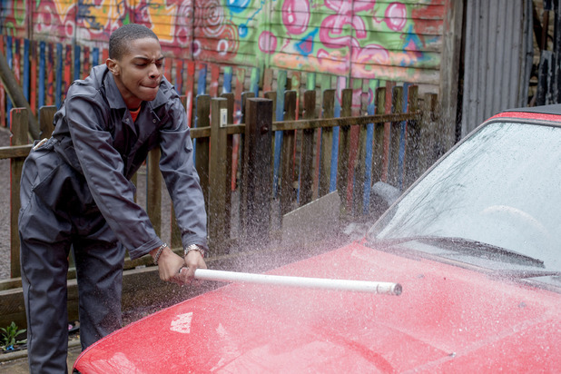 Dexter smashes up the car
