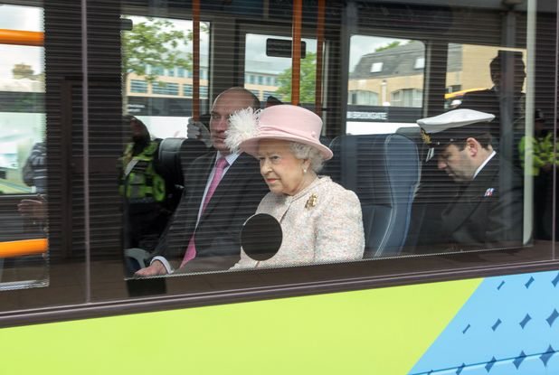 Queen rides on bus