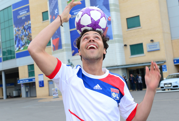 Made in Chelsea star Andy Jordan promoting the UEFA Women's Champions League