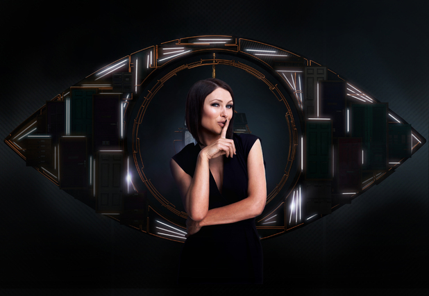 Emma Willis in front of the Big Brother 14 eye