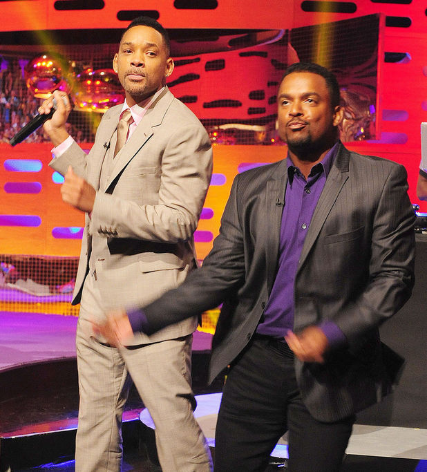 Will Smith, Alfonso Ribeiro and DJ Jazzy Jeff on the decks behind during filming of the Graham Norton show.