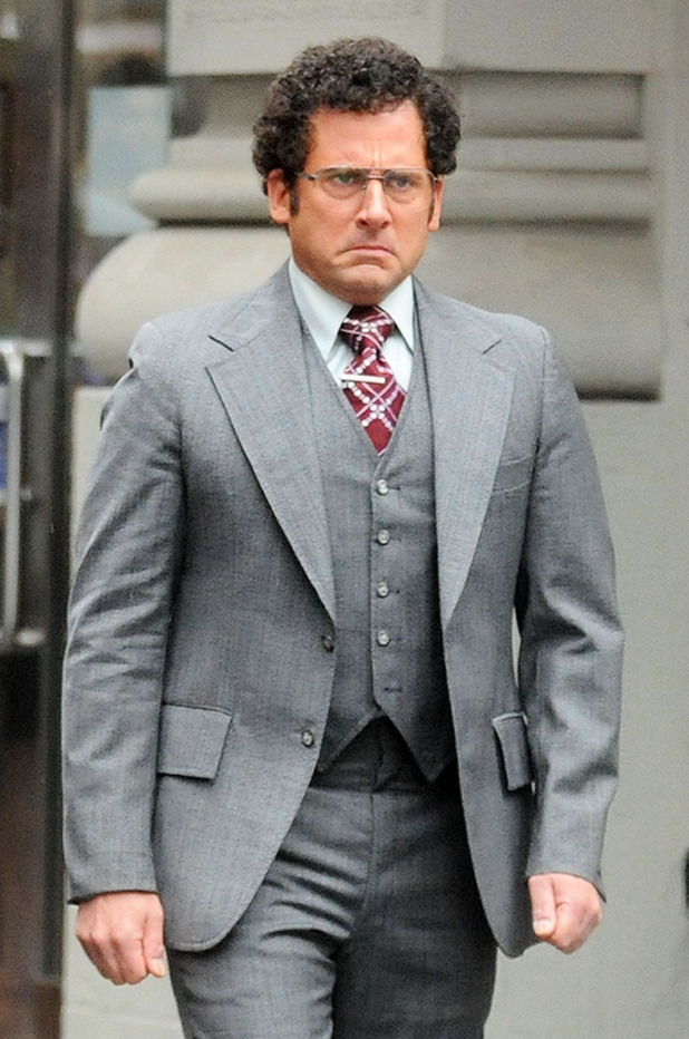 Steve Carell on the set of 'Anchorman: The Legend Continues' in New York