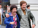 Paul Rudd and Will Ferrell on the set of 'Anchorman: The Legend Continues' in New York