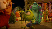 Digital Spy exclusive: Mike and Sulley impress their fraternity after terrifying Archie the Scare Pig.