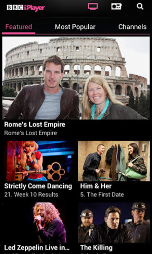 BBC iPlayer app screenshot for Android