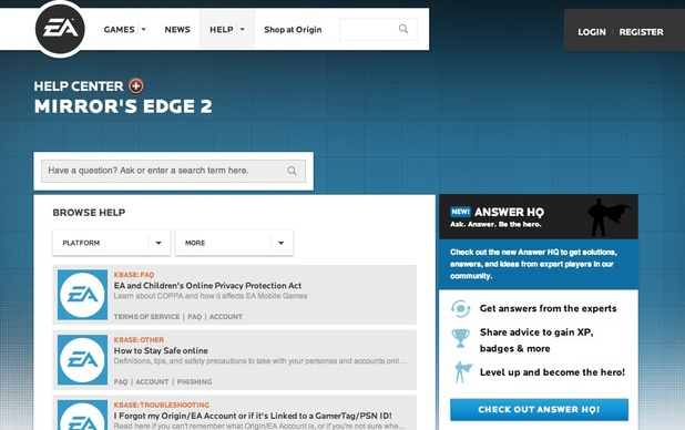 Mirror's Edge 2 appears on EA help website.