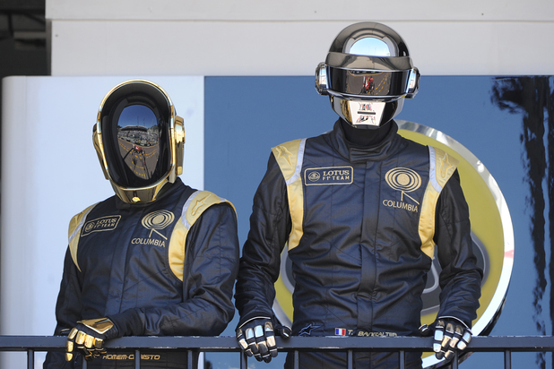 Daft Punk on the pit lane balcony at the 2013 Monaco Grand Prix