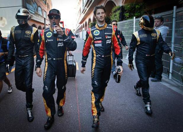 Daft Punk with F1 drivers Kimi Raikkonen and Romain Grosjean at the 2013 Monaco Grand Prix
