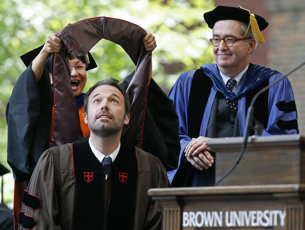 Ben Affleck receives an honorary doctorate from Brown University at commencement on May 26, 2013.