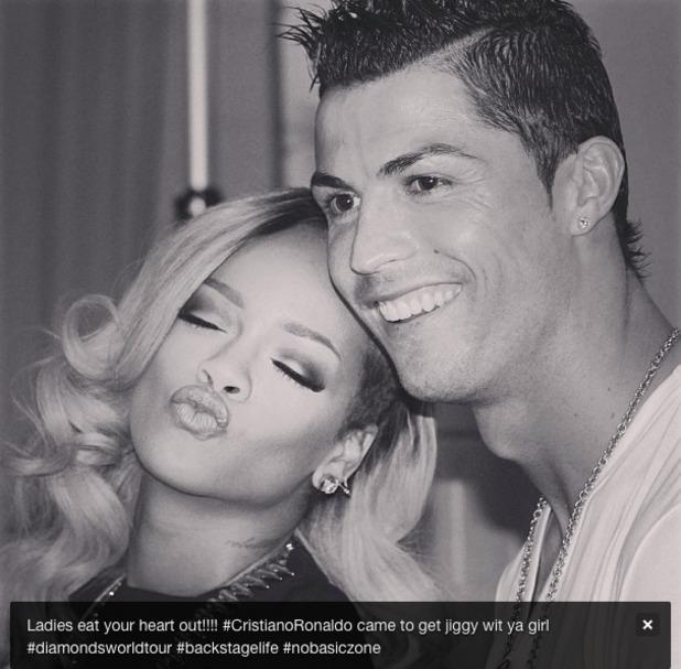 Rihanna poses with Cristiano Ronaldo