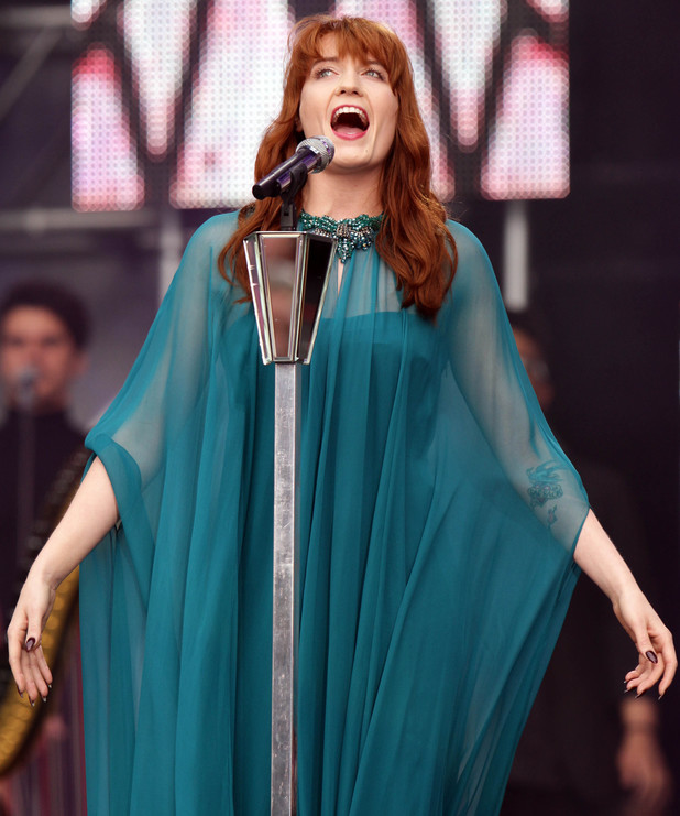 Florence and the Machine performing at the Chime for Change Live concert held at Twickenham Stadium, London.