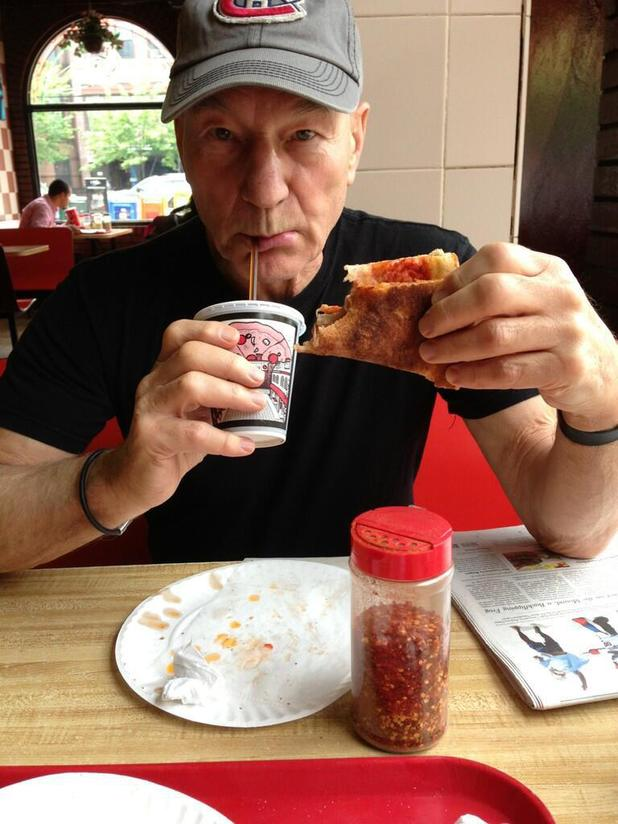 Patrick Stewart enjoys his first ever pizza