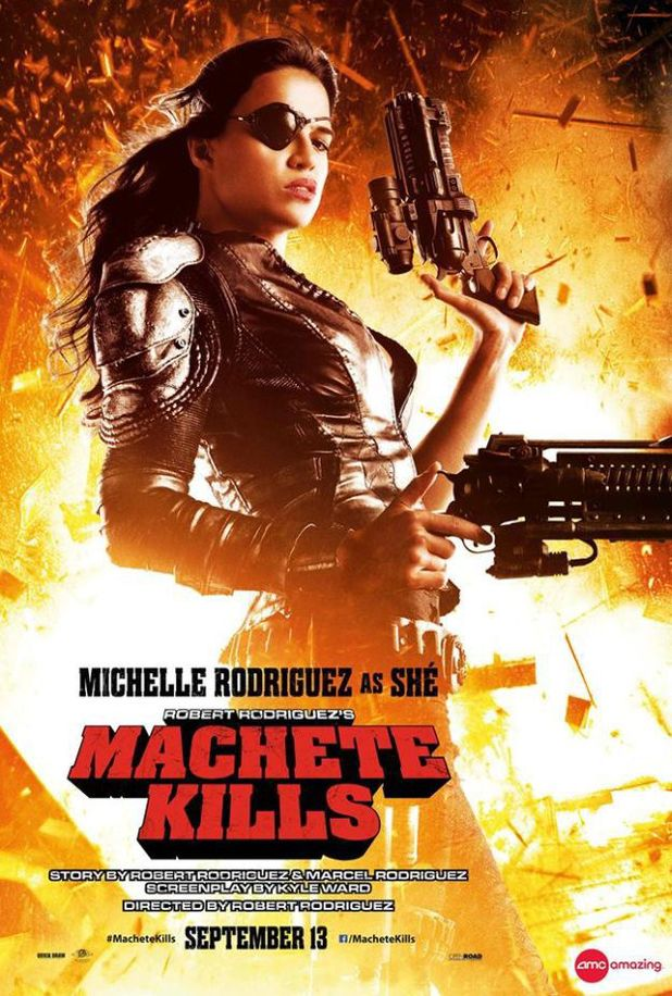 Michelle Rodriguez in 'Machete Kills' poster