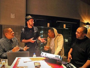 Justin Timberlake, Jay-Z, Nas and Timbaland in recording studio.