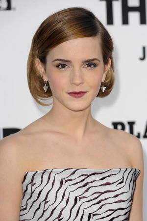 Emma Watson, hair, faux bob, 'This is the End' film premiere, Los Angeles, Roland Mouret bustier, monochrome