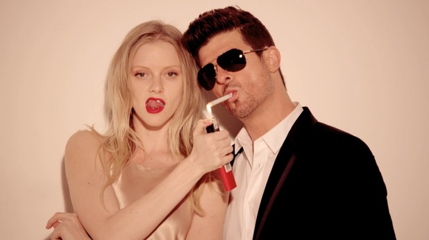Robin Thicke in 'Blurred Lines' music video.