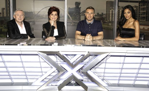 The X Factor judges Louis Walsh, Sharon Osbourne, Gary Barlow and Nicole Scherzinger