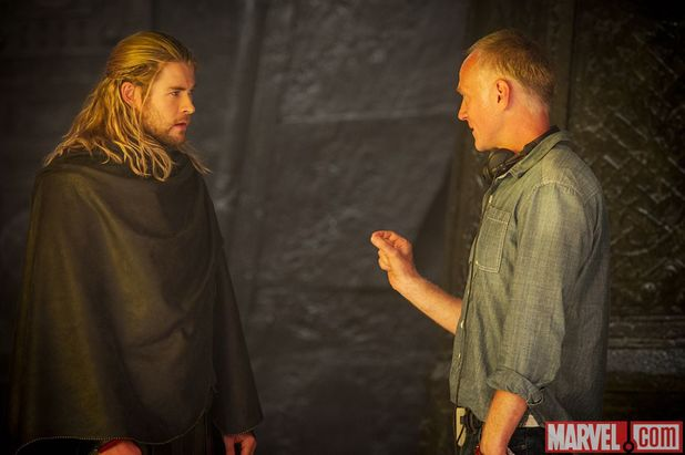 Chris Hemsworth & Alan Taylor on the set of 'Thor: The Dark World'