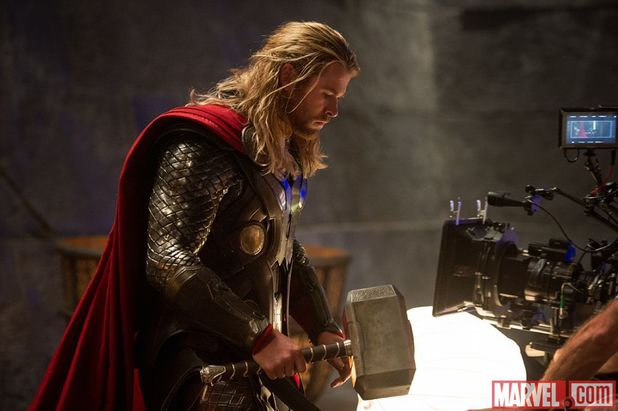 Chris Hemsworth on the set of 'Thor: The Dark World'