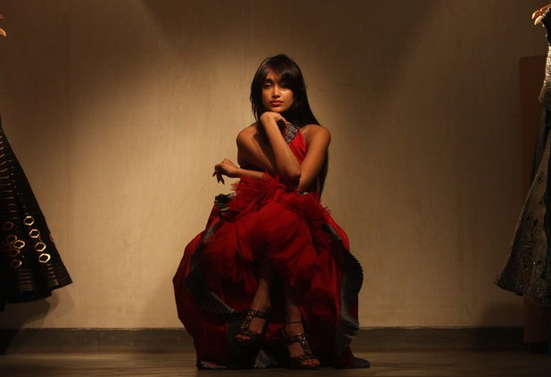 Jiah Khan poses during a profile shoot at Shantanu and Nikhil Studio at Bandra in 2009.