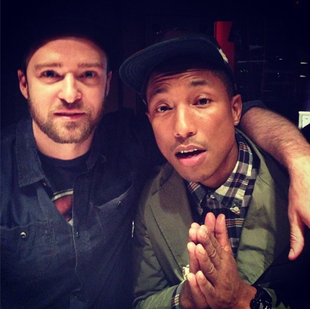 Justin Timberlake and Pharrell Williams in the recording studio.