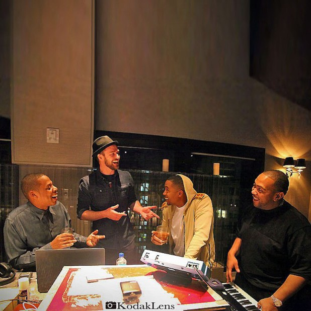 Justin Timberlake, Jay-Z, Nas and Timbaland in recording studio.