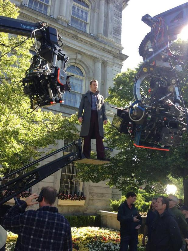 Michael Fassbender as Magneto on-set photo