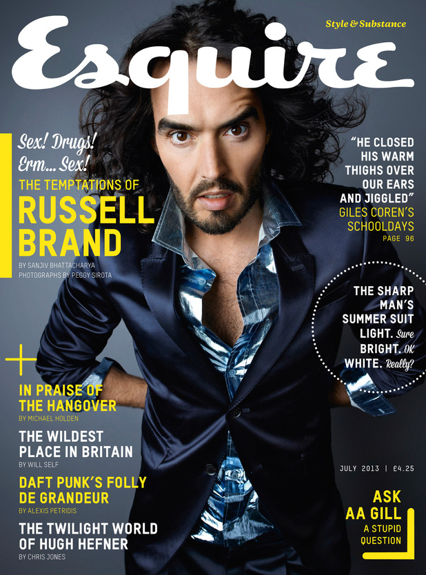 Russell Brand on the front cover of Esquire magazine