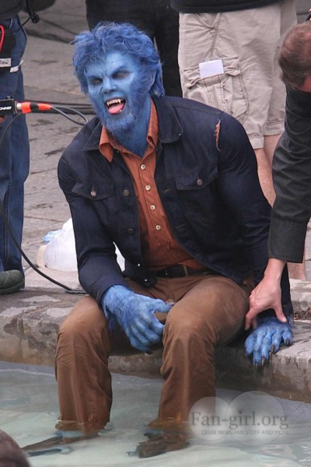 Nicholas Hoult as Beast on the set of 'X-Men: Days of Future Past'