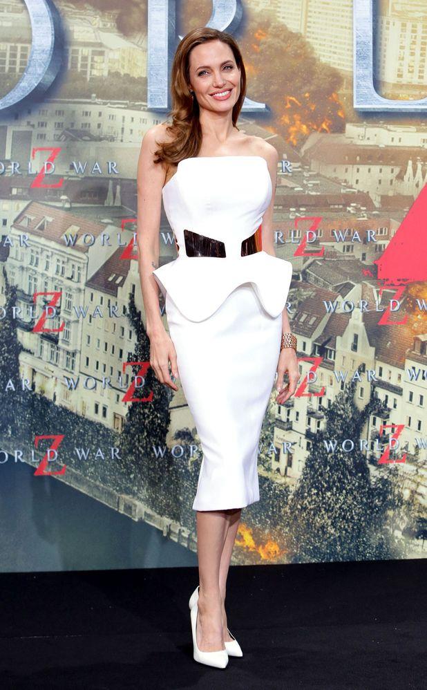 Angelina Jolie, Ralph & Russo peplum dress, 'World War Z' film premiere, Berlin