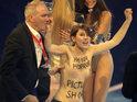 The women were supporters of feminist Ukrainian protest group FEMEN.