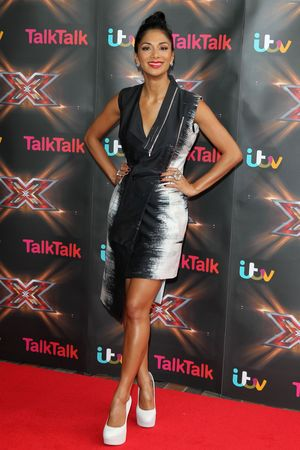 Nicole Scherzinger, X Factor, Birmingham, monochrome plunging dress,