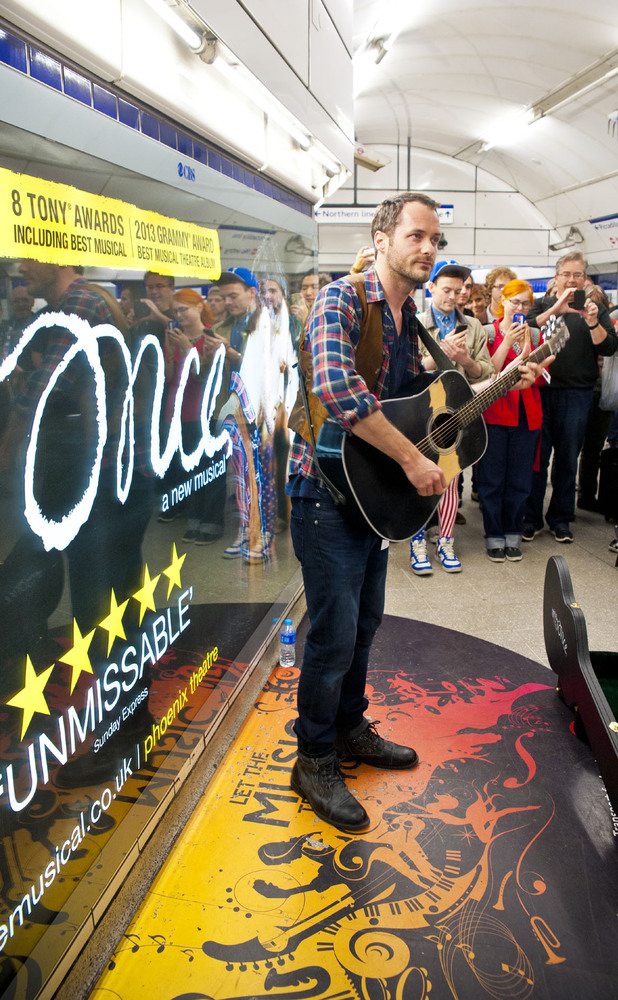 The cast of 'Once' busking at Leicester Square Tube station.