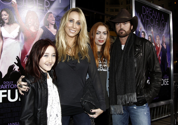 (L-R) Noah, Tish, Brandi and Billy Ray Cyrus ~~ 'Joyful Noise' premiere ~~ January 9, 2012